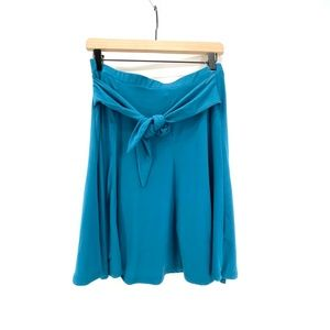 FRENCH GREY TEAL TIE FRONT A-LINE MID-LENGTH SKIRT